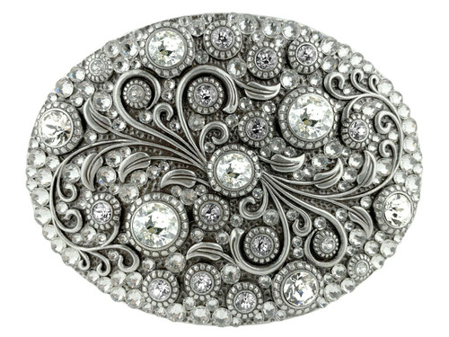 Rhinestone Crystal Belt Buckle Antique Oval Floral Engraved Buckle - Silver-Full Crystal