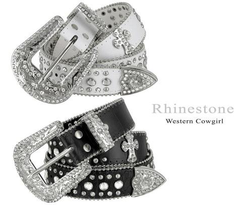 "50121 Rhinestone Belt Fashion Western Bling Crystal Genuine Leather Belt 1-1/2""(38mm) Wide"