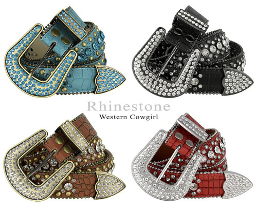 "50158 Rhinestone Belt Fashion Western Bling Crystal Genuine Leather Belt 1-1/2""(38mm) Wide"