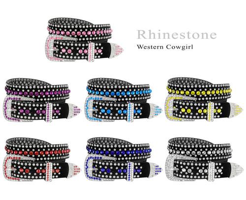"DM1006 Rhinestone Belt Fashion Western Bling Crystal Studded Design Suede Leather Belt 1-3/8""(35mm) Wide"