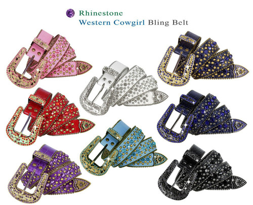"35116 Rhinestone Belt Fashion Western Bling Crystal Genuine Leather Belt 1-3/8""(35mm) Wide"