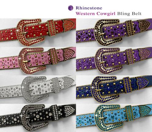 "35158 Rhinestone Belt Fashion Western Bling Crystal Genuine Leather Belt 1-3/8""(35mm) Wide"