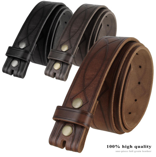"""382000 Genuine One Piece Full Grain Leather Hand Tooled Engraved Belt Strap 1-1/2""""(38mm)"""