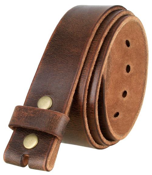 "3840002 One Piece Genuine Full Grain Vintage Distressed Leather Belt Strap 1-1/2""(38mm) Wide"