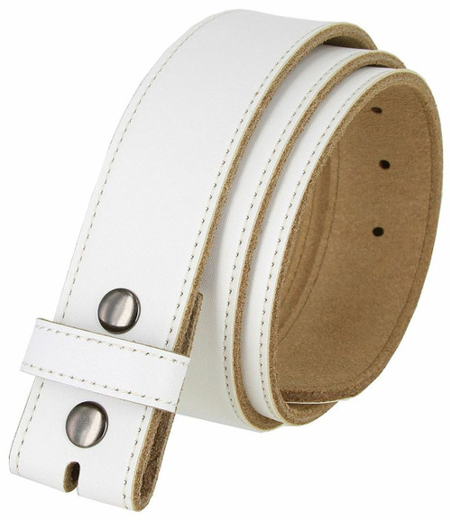 """BS1200 White Belt Genuine Cowhide Leather Belt Strap with Snaps 1-1/2""""(38mm) Wide"""