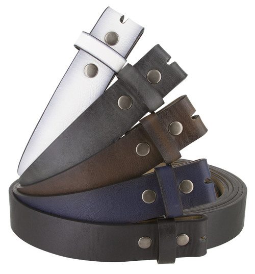 """BS382011 Casual Leather Belt Strap with Metal Snaps 1 1/2"""" wide"""