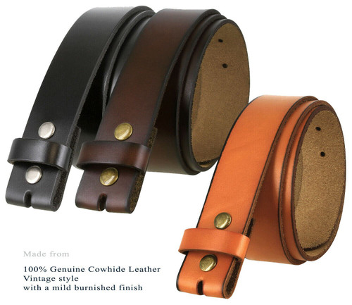 """BS121 Replacement Belt Strap Genuine Leather Vintage Casual Belt Strap with Snaps 1-1/2""""(38mm) Wide"""