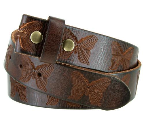 "Vintage Full Grain Genuine Leather Butterfly Embossed Casual Belt Strap 1-1/2""(38mm) Wide"