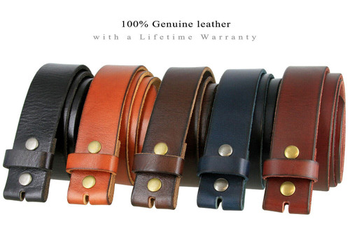 """BS040 Replacement Belt Genuine Full Grain Leather Belt Strap with Snaps on 1-1/2""""(38mm) wide"""