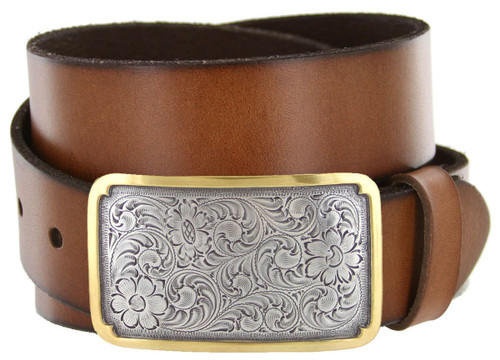 """Western Floral Engraved Gold Edge Buckle Genuine Full Grain Leather Casual Jean Belt 1-1/2""""(38mm) Wide"""