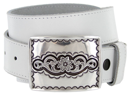 """Taos Southwestern Antique Floral Engraved Buckle Genuine Full Grain Leather Casual Jean Belt 1-1/2""""(38mm) Wide"""