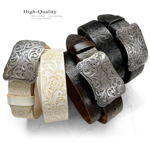 """Cowtown Cowtown Western Floral Engraved Buckle Tooled Full Grain Leather Belt 1-1/2""""(38mm) Wide"""