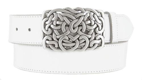 "Celtic Twisted Heart Buckle Genuine Full Grain Leather Casual Jean Belt 1-1/2""(38mm) Wide"