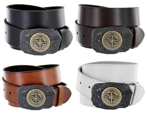"""Pirate Compass Buckle Genuine Full Grain Leather Casual Jean Belt 1-1/2""""(38mm) Wide"""