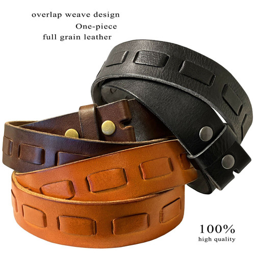 """383000 Genuine Full Grain Leather Belt Strap with Overlapped Leather 1-1/2"""""""