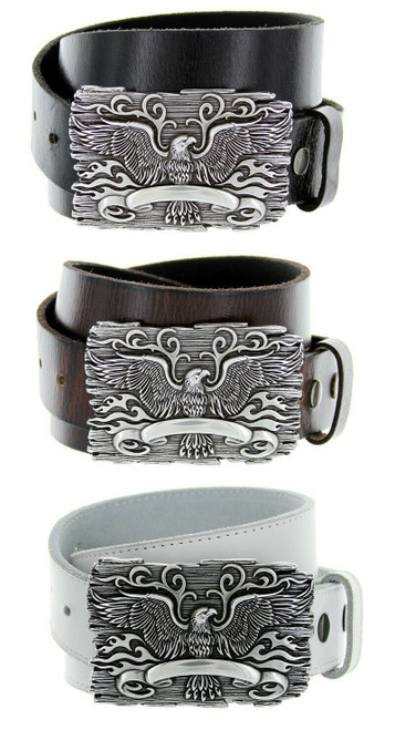 "Antique Eagle Crest Engraved Buckle Genuine Full Grain Leather Casual Jean Belt 1-1/2""(38mm) Wide"