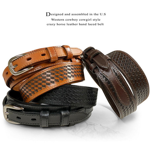 Genuine Full Grain Leather Basketweave Tooled Engraved Western Ranger Belt