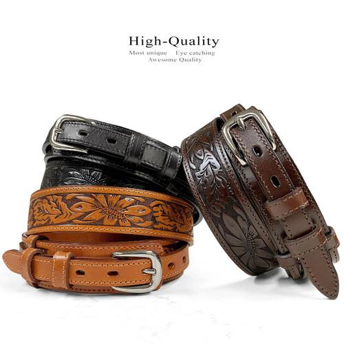 Genuine Full Grain Leather Floral Tooled Engraved Western Ranger Belt