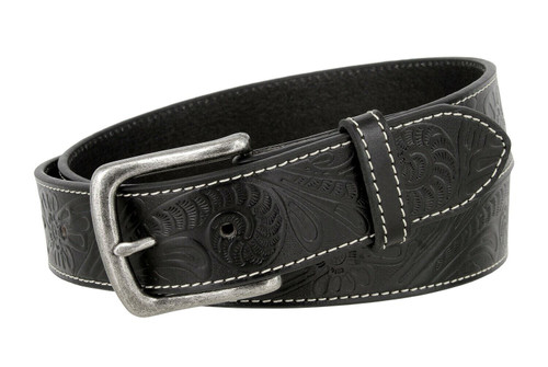 "Antique Buckle Genuine Full Grain Western Floral Engraved Tooled Leather Belt 1-1/2""(38mm) Wide"