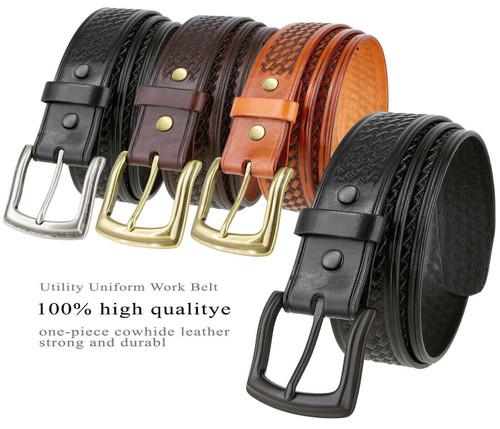 """Utility Uniform Work Belt Basketweave One Piece Full Grain Cowhide Leather Belt 1-1/2""""(38mm) Wide"""