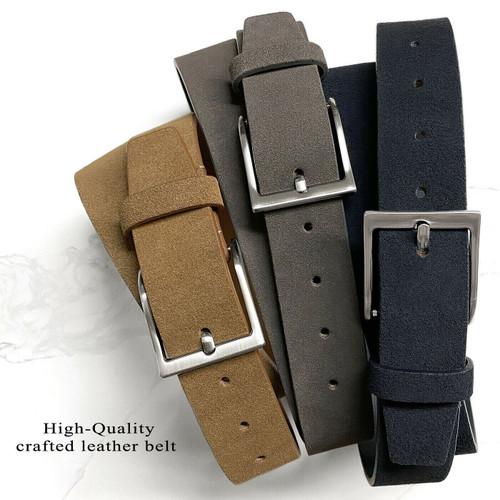 "41101 Suede Belt Genuine Suede Leather Casual Jean Belt 1-1/2""(38mm) Wide"
