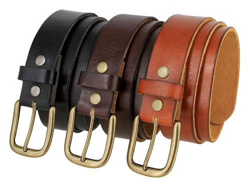 """Antique Gold Classic Buckle Genuine Full Grain Leather Casual Jean Belt 1-1/2""""(38mm) Wide"""