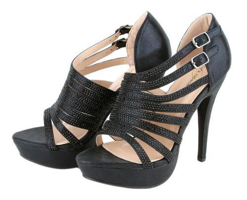 Shiny Rhinestone Glitter Beaded Cutout Straps Peep Toe Sexy Fashion Heels