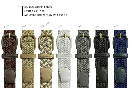 """7001 Leather Covered Buckle Woven Elastic Stretch Belt 1-1/4""""(32mm) Wide"""