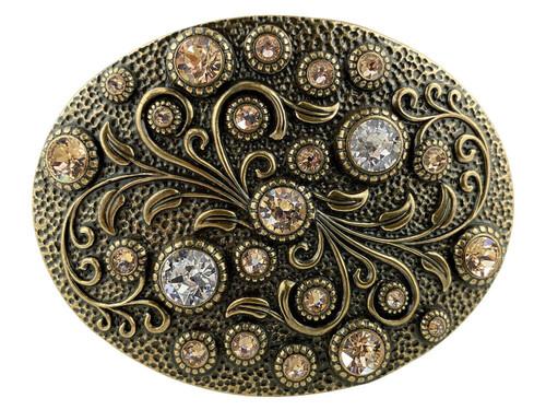 Rhinestone Crystal Belt Buckle Brass Oval Floral Engraved Buckle - Brass-Light SILK