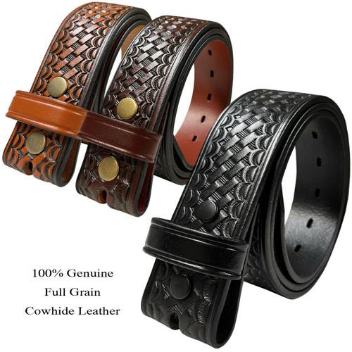 "Utility Uniform Work Belt Strap Basketweave One Piece Full Grain Cowhide Leather Belt Strap 1-1/2""(38mm) Wide"