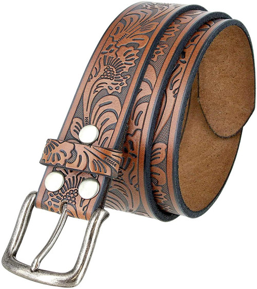 """Western Floral Engraved Embossed Tooled Genuine Leather Casual Belt 1-1/2""""(38mm) Wide"""