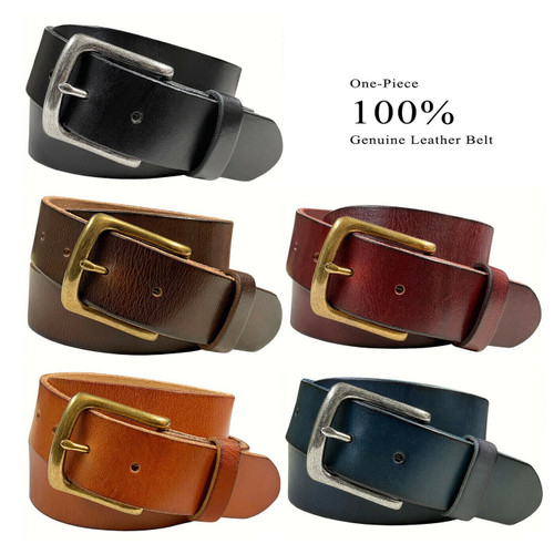 "Morgan Classic Buckle Genuine Full Grain Leather Casual Jean Belt 1-1/2""(38mm) Wide"