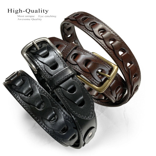 "Classic Antique Buckle Braided Belt Genuine Full Grain Cowhide Leather Belt 1-1/2""(38mm) Wide"