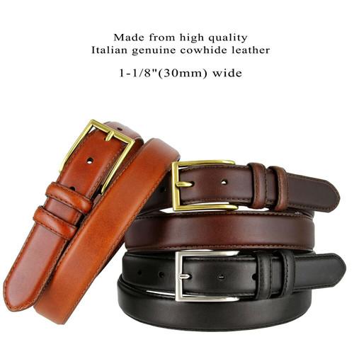 """HJ10 Men's Oil-Tanned Genuine Leather Italian Dress Belt 1-1/8""""(30mm) Wide"""