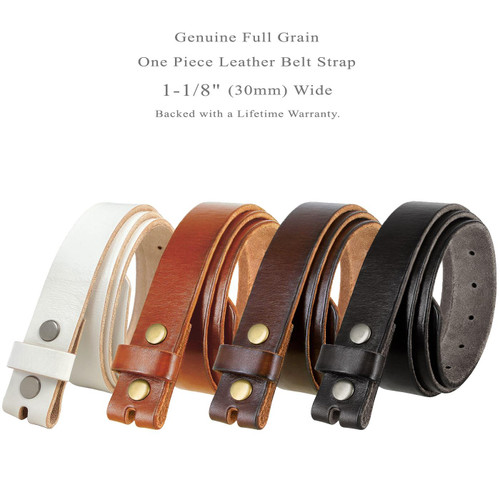 """BS100 Replacement Belt Genuine Full Grain Leather Belt Strap with Snaps on 1-1/8""""(30mm) wide"""
