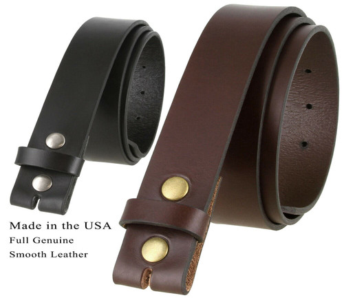"""BS1050-38 Genuine Full Grain Leather Belt Strap with Snaps on 1-1/2""""(38mm) Wide Made in U.S.A"""