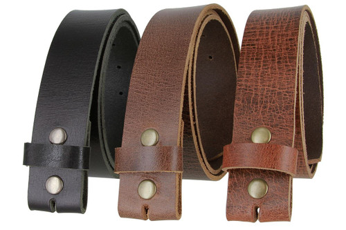 """HC005 Genuine Full Grain Leather Belt Strap with Snaps on 1-1/2""""(38mm) Wide Made in U.S.A"""