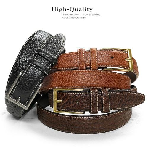 """Men's Bison Belt Genuine Leather Casual Dress Belt 1-1/8""""(30mm) Wide"""