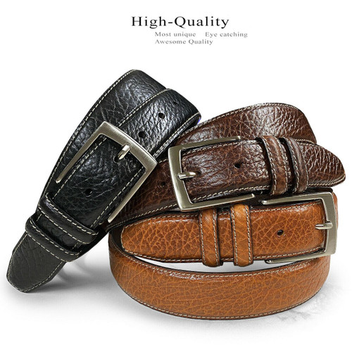 """Men's Bison Belt Genuine Leather Casual Dress Belt 1-3/8""""(35mm) Wide"""