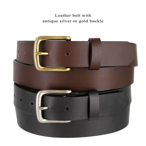 "Antique Buckle Genuine Full Grain Leather Casual Jean Belt 1-1/4""(32mm) Wide Made in U.S.A"