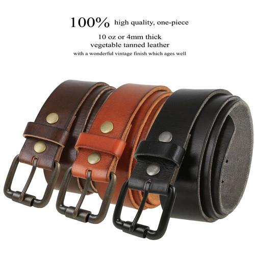 "Antique Roller Buckle Genuine Full Grain Leather Casual Jean Belt 1-1/2""(38mm) Wide"