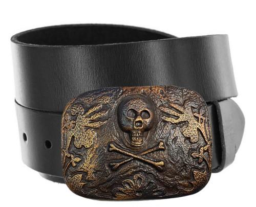 "Vintage Antique Brass Skull Engraved Buckle Genuine Full Grain Leather Casual Jean Belt 1-1/2""(38mm) Wide"