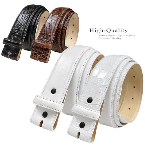 "Italian Calfskin Genuine Leather Dress Belt Strap with Snaps 1-1/2""(38mm) Wide"
