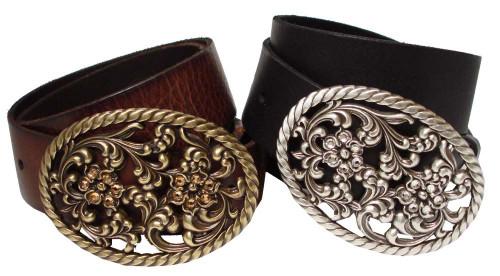 """Swarovski Crystal Floral Buckle Genuine Full Grain Leather Belt 1-1/2""""(38mm) Wide"""