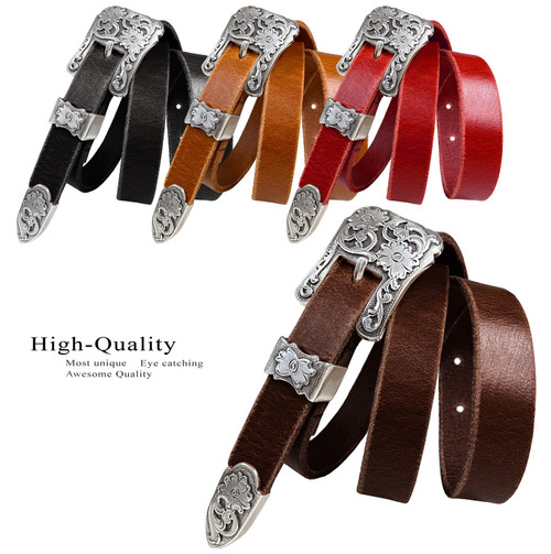 "Women's Belt Antique Floral Engraved Buckle Genuine Full Grain Leather Dress Belt 3/4""(19mm) Wide"