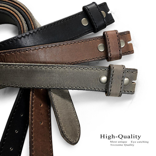 """E051 Replacement Belt Genuine Full Grain Leather Belt Strap with Snaps on 1-1/2""""(38mm) wide"""