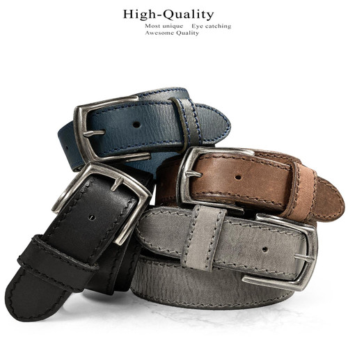 """Antique Engraved Buckle Genuine Full Grain Leather Casual Jean Belt 1-1/2""""(38mm) Wide"""