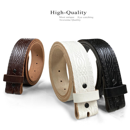"""BS085-New Genuine Full Grain Engraved Embossed Leather Belt Strap with Snaps on 1-1/2""""(38mm) Wide"""