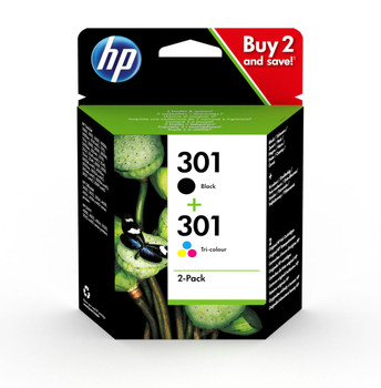HP 301 Black & Colour Original Ink Cartridge Combo Pack N9J72AE