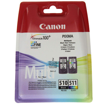 Original Canon PG510 Black & CL511 Colour Ink Cartridge Combo Pack 2970B010AA 2970B001AA 2972B001AA